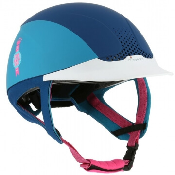 FOUGANZA Reithelm Safety blau/rosa, Größe: L